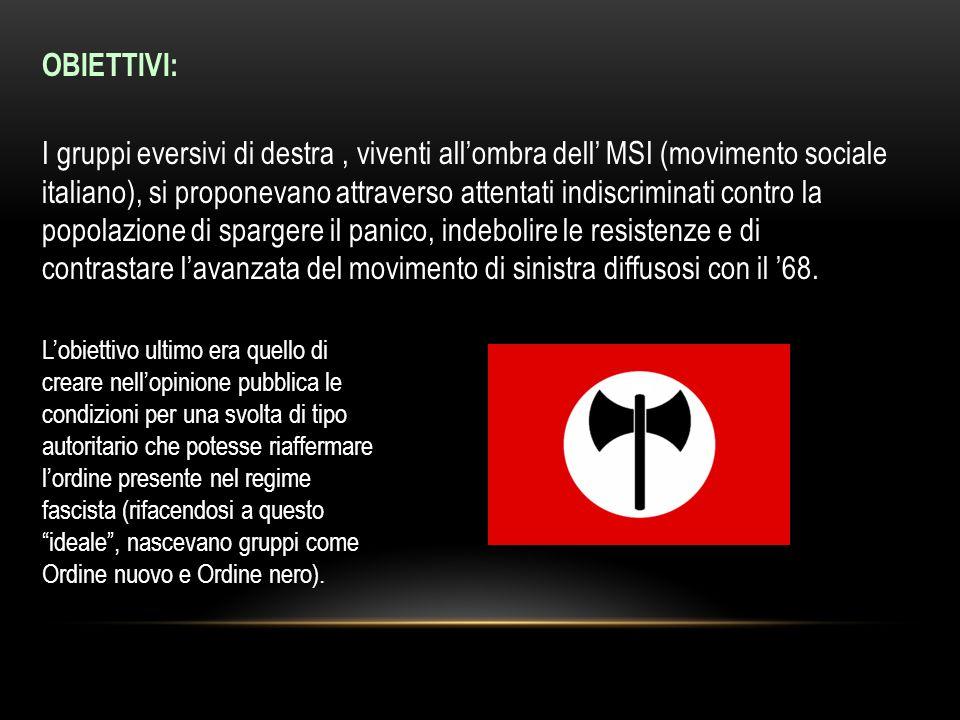 OBIETTIVI: I gruppi eversivi di destra, viventi allombra dell MSI (movimento sociale italiano), si proponevano attraverso attentati indiscriminati con