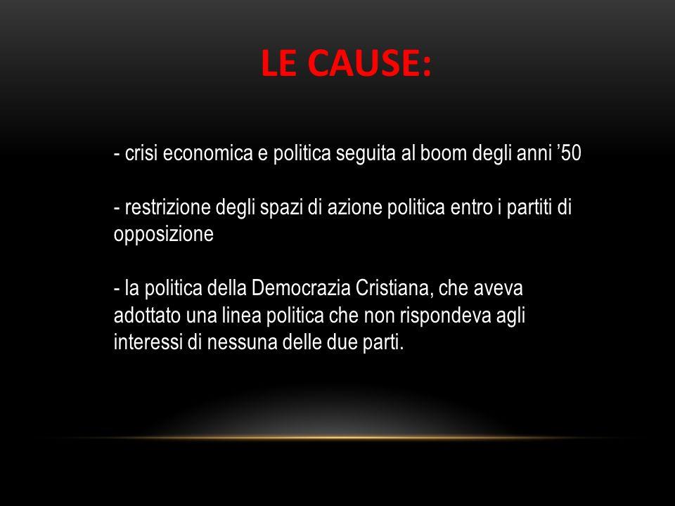 - crisi economica e politica seguita al boom degli anni 50 - restrizione degli spazi di azione politica entro i partiti di opposizione - la politica d