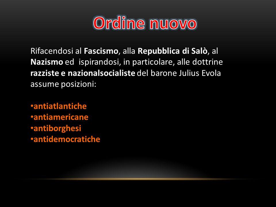 Rifacendosi al Fascismo, alla Repubblica di Salò, al Nazismo ed ispirandosi, in particolare, alle dottrine razziste e nazionalsocialiste del barone Ju
