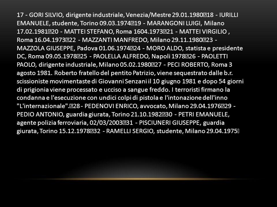17 - GORI SILVIO, dirigente industriale, Venezia/Mestre 29.01.1980 18 - IURILLI EMANUELE, studente, Torino 09.03.1974 19 - MARANGONI LUIGI, Milano 17.