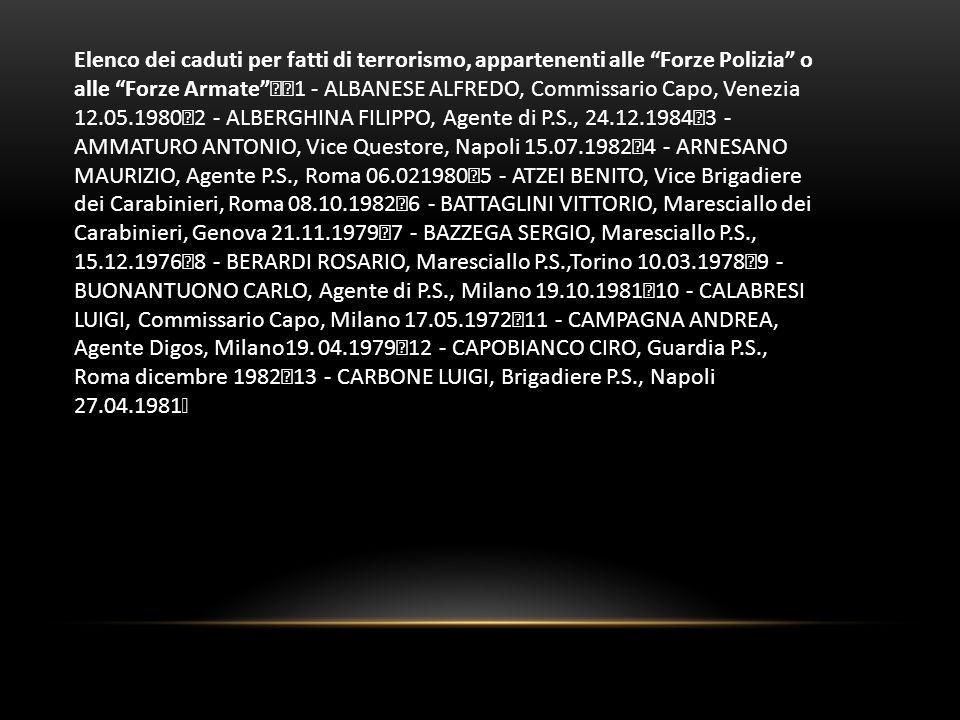 Elenco dei caduti per fatti di terrorismo, appartenenti alle Forze Polizia o alle Forze Armate 1 - ALBANESE ALFREDO, Commissario Capo, Venezia 12.05.1