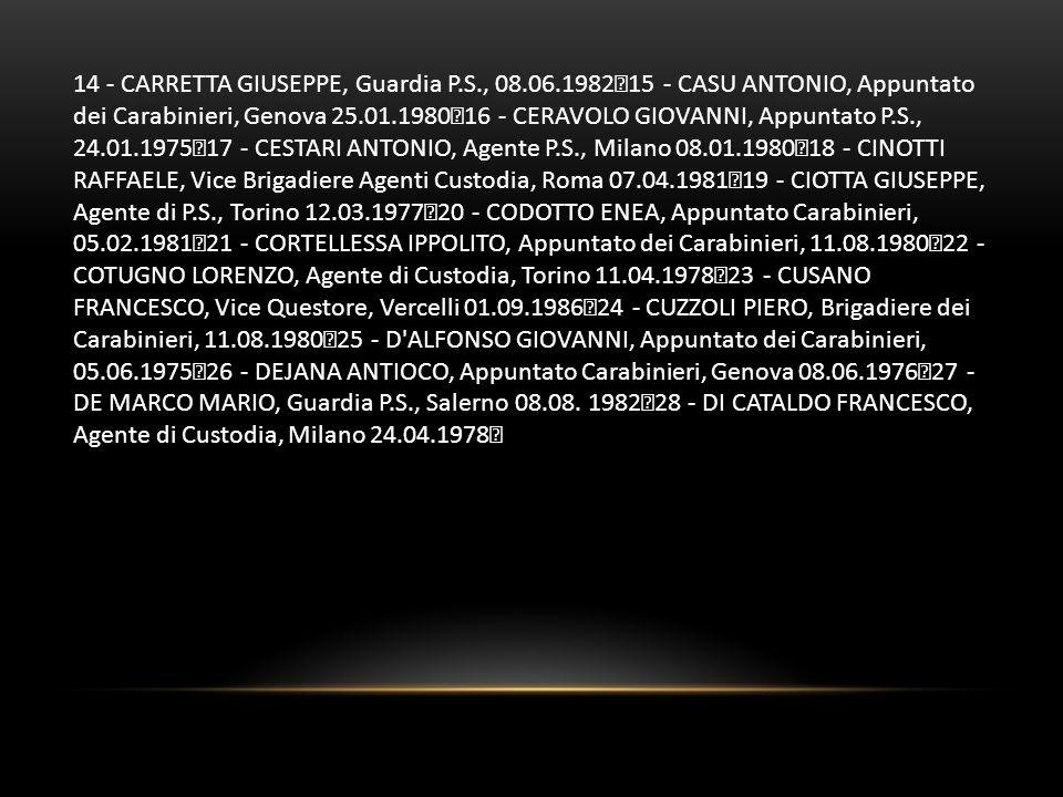 14 - CARRETTA GIUSEPPE, Guardia P.S., 08.06.1982 15 - CASU ANTONIO, Appuntato dei Carabinieri, Genova 25.01.1980 16 - CERAVOLO GIOVANNI, Appuntato P.S