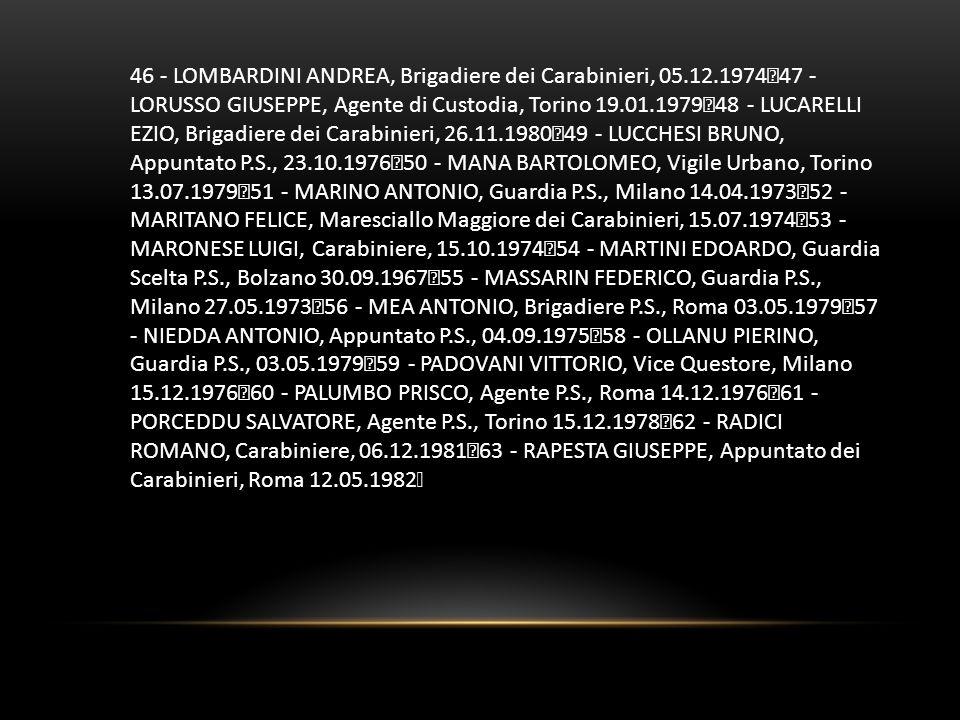 46 - LOMBARDINI ANDREA, Brigadiere dei Carabinieri, 05.12.1974 47 - LORUSSO GIUSEPPE, Agente di Custodia, Torino 19.01.1979 48 - LUCARELLI EZIO, Briga