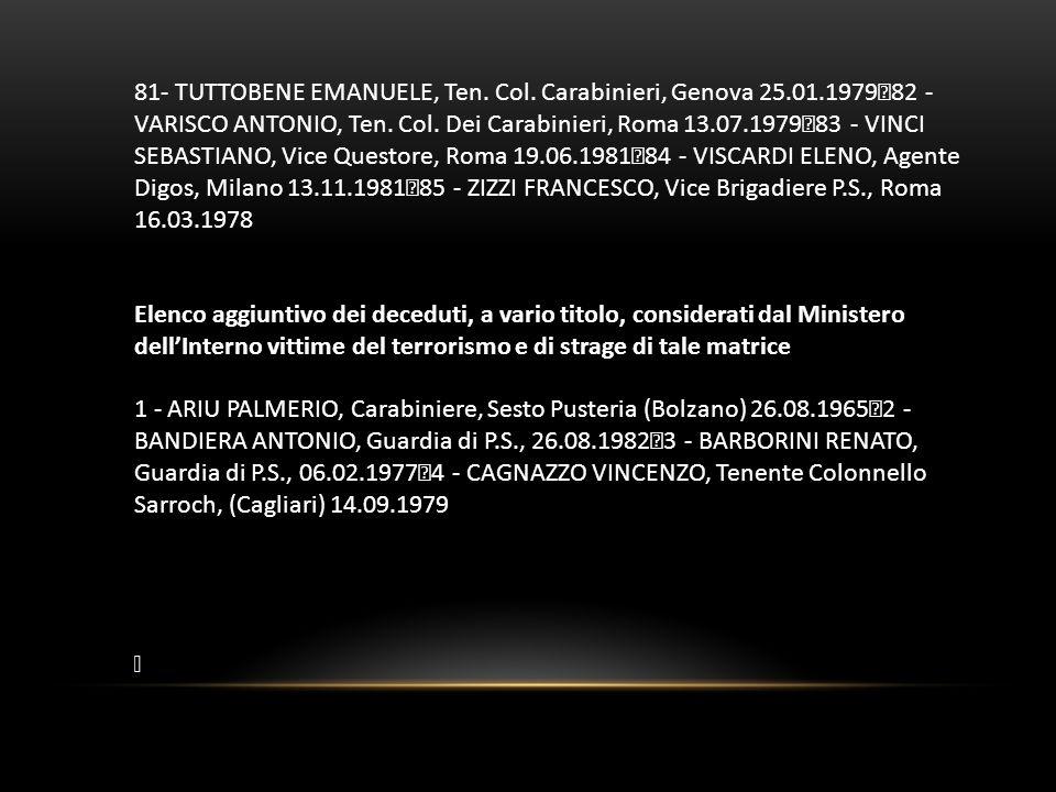 81- TUTTOBENE EMANUELE, Ten. Col. Carabinieri, Genova 25.01.1979 82 - VARISCO ANTONIO, Ten. Col. Dei Carabinieri, Roma 13.07.1979 83 - VINCI SEBASTIAN