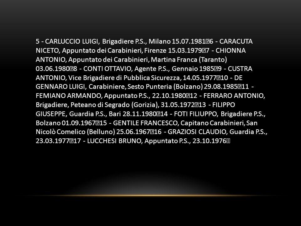 5 - CARLUCCIO LUIGI, Brigadiere P.S., Milano 15.07.1981 6 - CARACUTA NICETO, Appuntato dei Carabinieri, Firenze 15.03.1979 7 - CHIONNA ANTONIO, Appunt