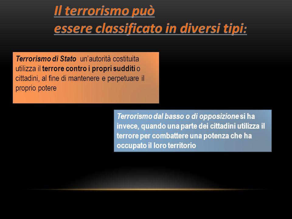 Terrorismo di Stato unautorità costituita utilizza il terrore contro i propri sudditi o cittadini, al fine di mantenere e perpetuare il proprio potere