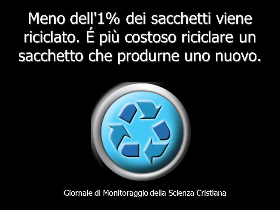 Meno dell 1% dei sacchetti viene riciclato.