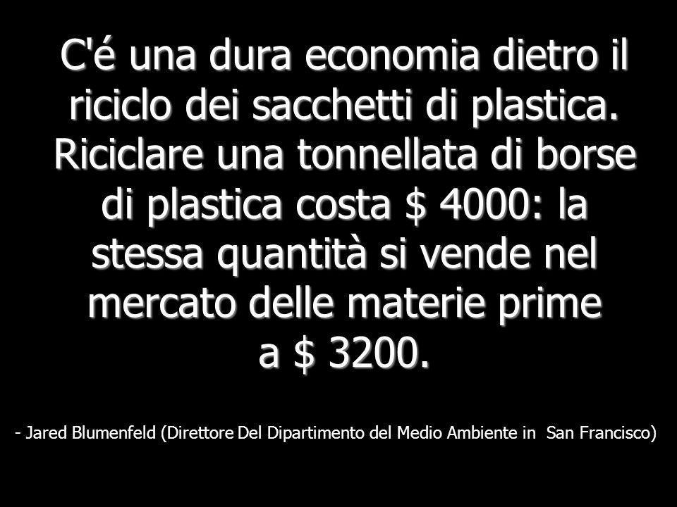 Meno dell'1% dei sacchetti viene riciclato. É più costoso riciclare un sacchetto che produrne uno nuovo. -Giornale di Monitoraggio della Scienza Crist