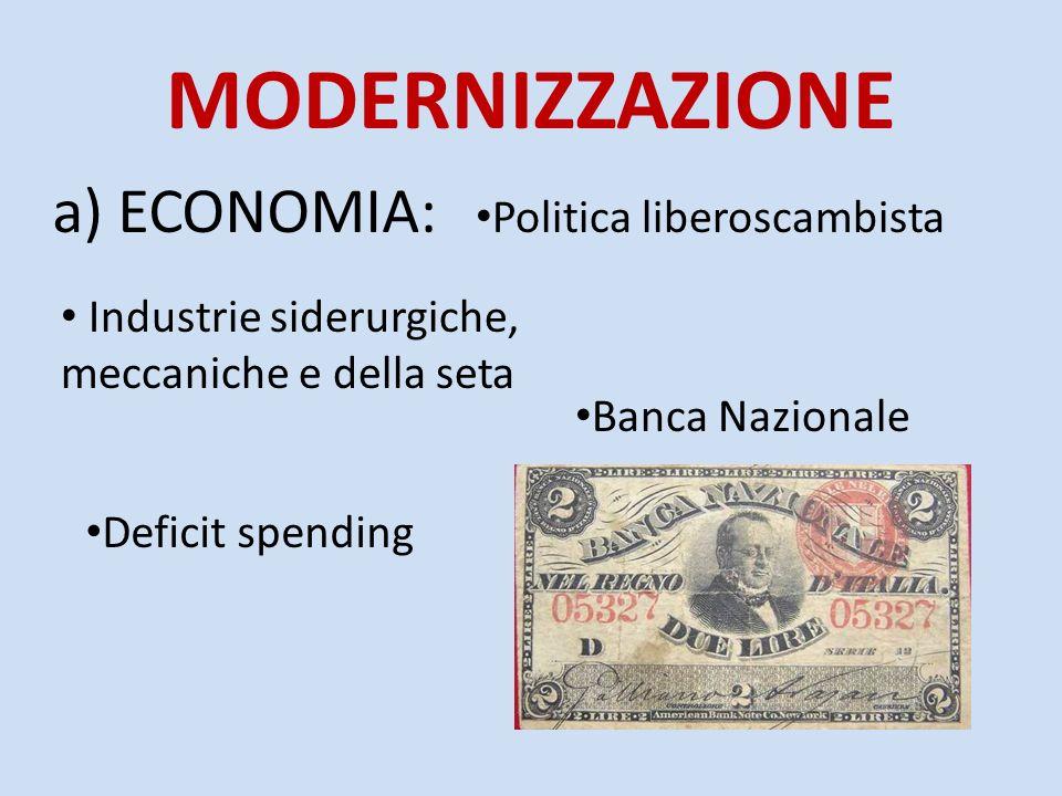 MODERNIZZAZIONE a) ECONOMIA: Politica liberoscambista Banca Nazionale Industrie siderurgiche, meccaniche e della seta Deficit spending