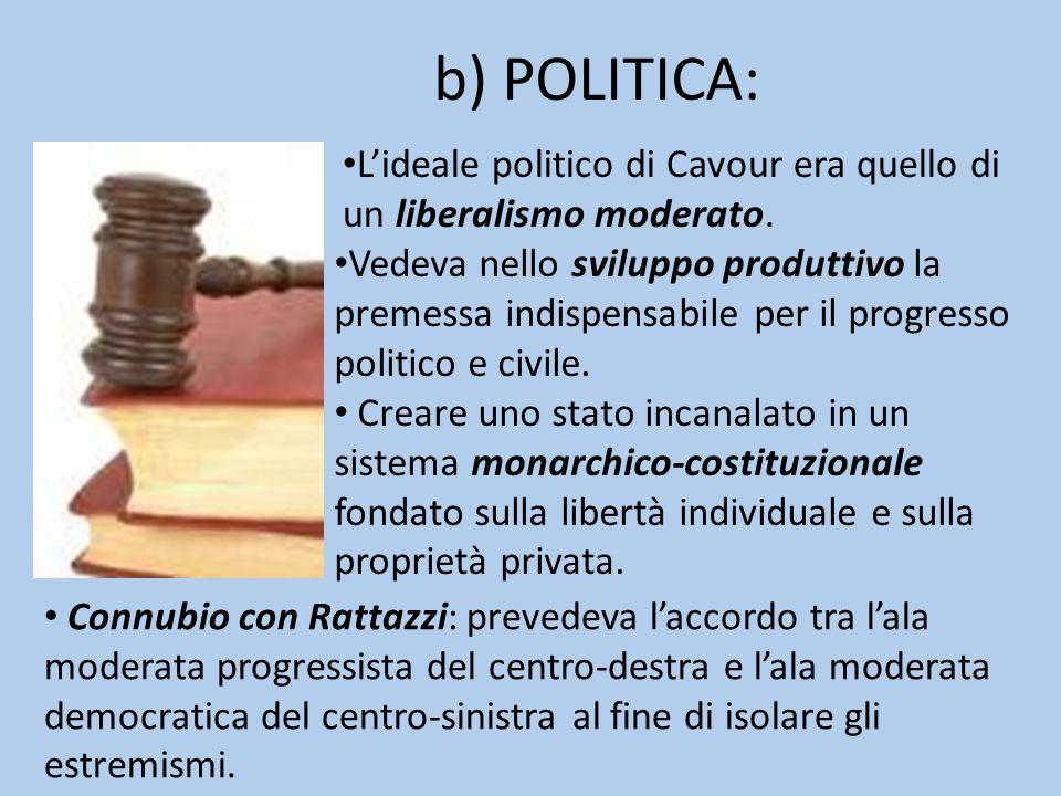 b) POLITICA: Creare uno stato incanalato in un sistema monarchico-costituzionale fondato sulla libertà individuale e sulla proprietà privata. Connubio