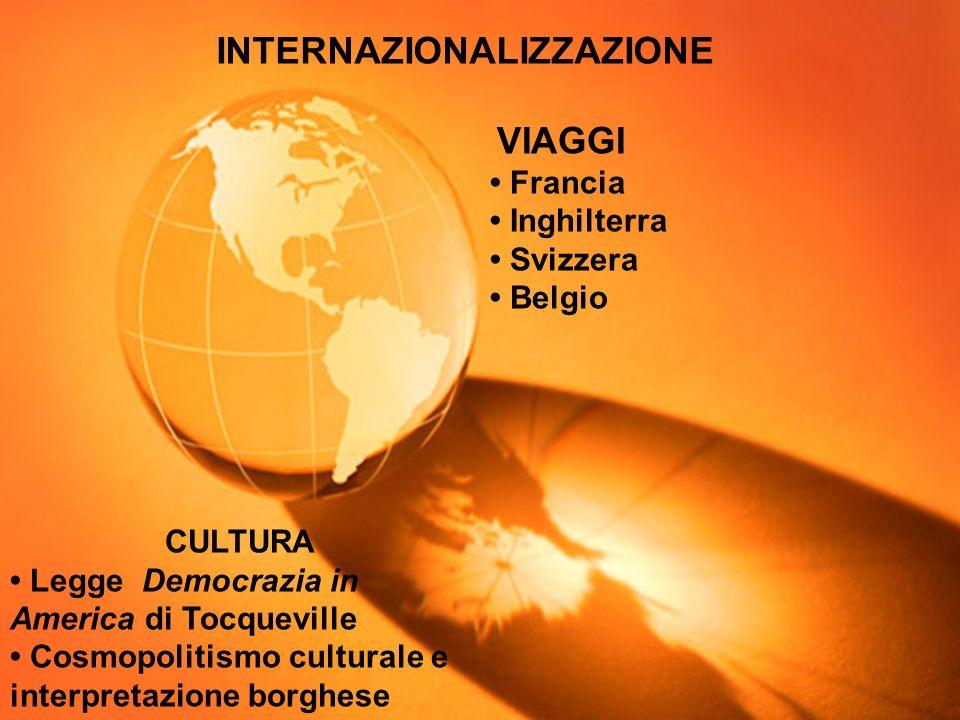 INTERNAZIONALIZZAZIONE VIAGGI Francia Inghilterra Svizzera Belgio CULTURA Legge Democrazia in America di Tocqueville Cosmopolitismo culturale e interp