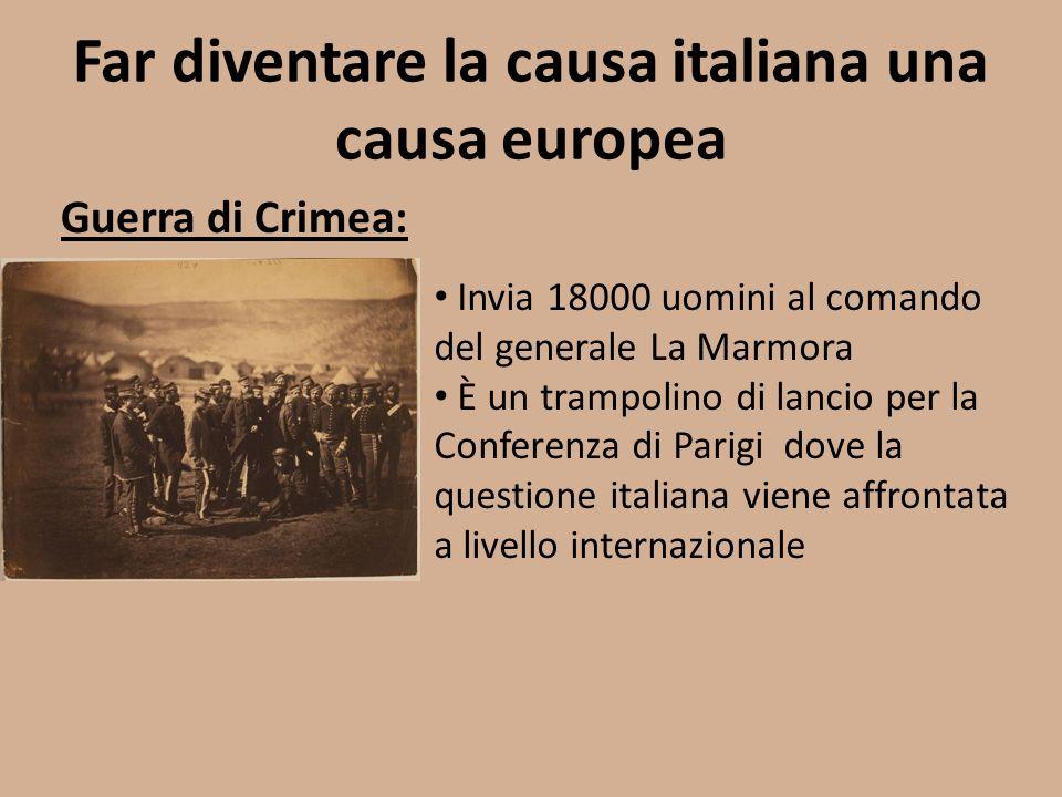 Far diventare la causa italiana una causa europea Guerra di Crimea: Invia 18000 uomini al comando del generale La Marmora È un trampolino di lancio pe