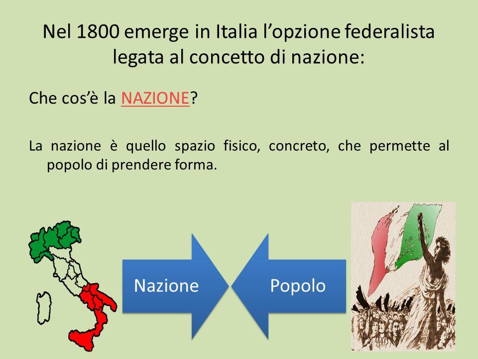 Nel 1800 emerge in Italia lopzione federalista legata al concetto di nazione: Che cosè la NAZIONE? La nazione è quello spazio fisico, concreto, che pe