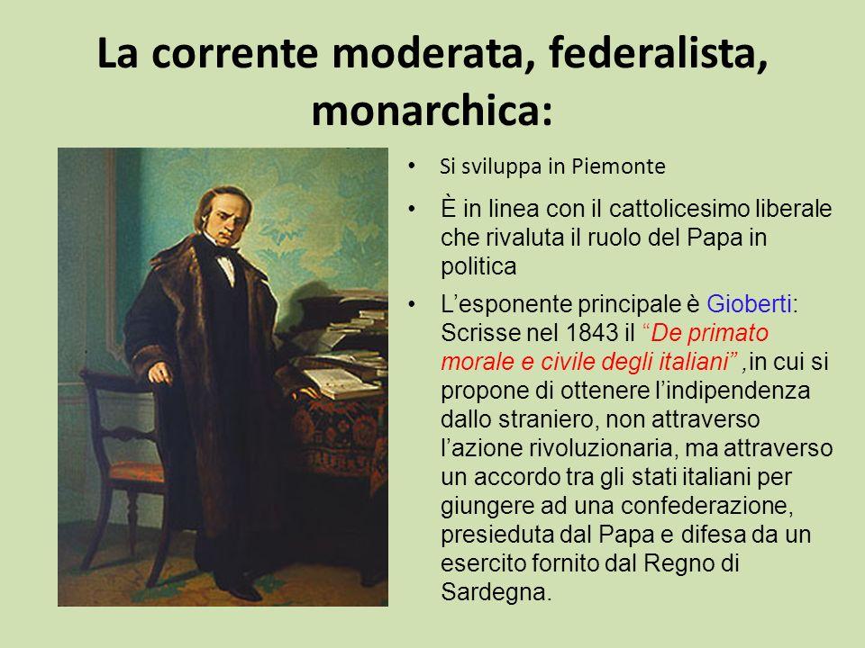 La corrente moderata, federalista, monarchica: Si sviluppa in Piemonte È in linea con il cattolicesimo liberale che rivaluta il ruolo del Papa in poli