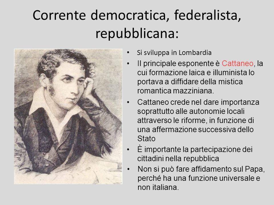 Corrente democratica, federalista, repubblicana: Si sviluppa in Lombardia Il principale esponente è Cattaneo, la cui formazione laica e illuminista lo