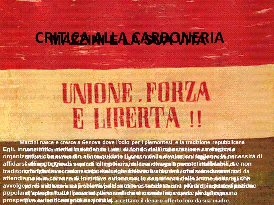 CRITICA ALLA CARBONERIA Mazzini nasce e cresce a Genova dove lodio per i piemontesi e la tradizione repubblicana sono dincentivo allattività delle set