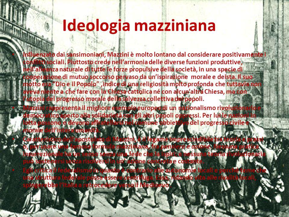 La questione sociale Mazzini non ignora la grave questione sociale italiana che era soprattutto un problema contadino ma egli pensa che questa dovesse essere affrontata e risolta solo dopo il raggiungimento dellunità nazionale e non attraverso lo scontro di classe, ma attraverso la loro collaborazione.