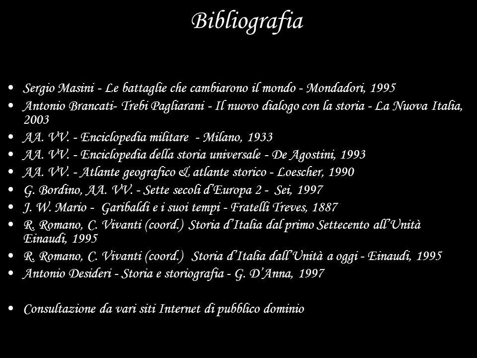 Bibliografia Sergio Masini - Le battaglie che cambiarono il mondo - Mondadori, 1995 Antonio Brancati- Trebi Pagliarani - Il nuovo dialogo con la stori