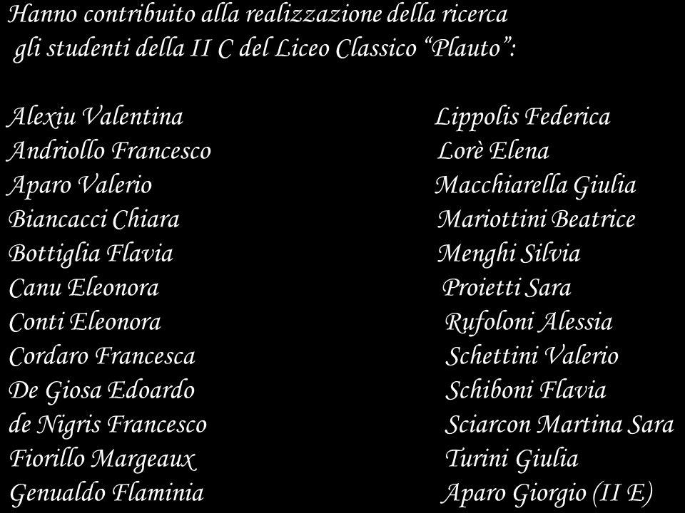 Hanno contribuito alla realizzazione della ricerca gli studenti della II C del Liceo Classico Plauto: Alexiu Valentina Lippolis Federica Andriollo Fra
