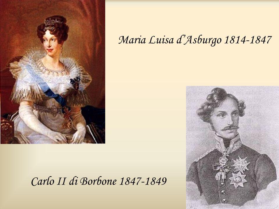 Maria Luisa dAsburgo 1814-1847 Carlo II di Borbone 1847-1849