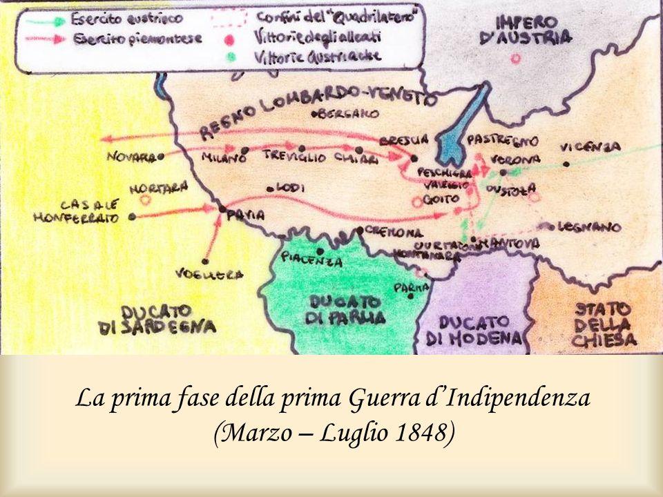La prima fase della prima Guerra dIndipendenza (Marzo – Luglio 1848)