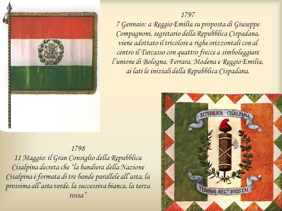 1797 7 Gennaio: a Reggio Emilia su proposta di Giuseppe Compagnoni, segretario della Repubblica Cispadana, viene adottato il tricolore a righe orizzon