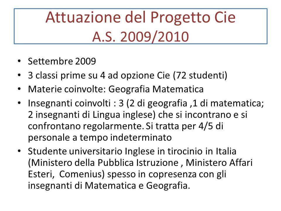 Attuazione del Progetto Cie A.S. 2009/2010 Settembre 2009 3 classi prime su 4 ad opzione Cie (72 studenti) Materie coinvolte: Geografia Matematica Ins