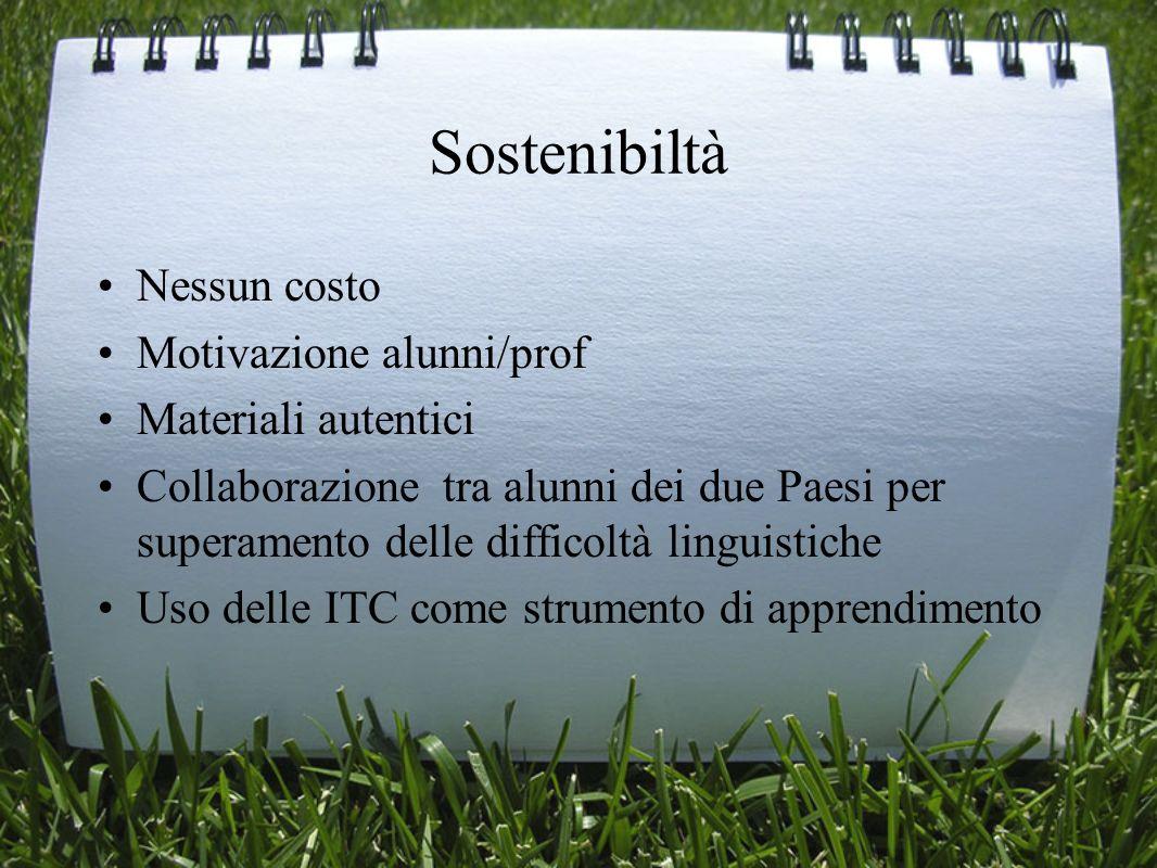 Sostenibiltà Nessun costo Motivazione alunni/prof Materiali autentici Collaborazione tra alunni dei due Paesi per superamento delle difficoltà linguis