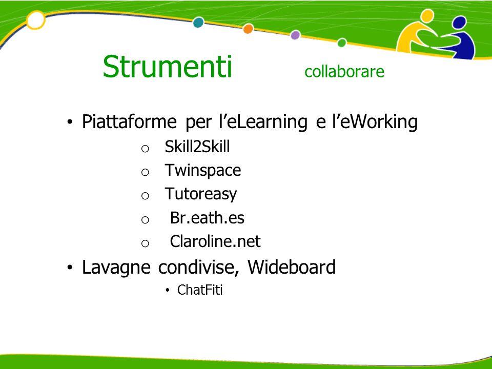 Strumenti collaborare Piattaforme per leLearning e leWorking o Skill2Skill o Twinspace o Tutoreasy o Br.eath.es o Claroline.net Lavagne condivise, Wideboard ChatFiti