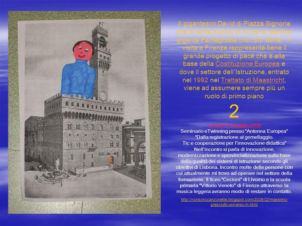 Il gigantesco David di Piazza Signoria che diventa piccolo di fronte al pacifico gigante Pantagruele (non più Golia) in visita a Firenze rappresenta b