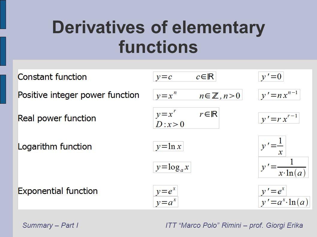 Derivatives of elementary functions Summary – Part IITT Marco Polo Rimini – prof. Giorgi Erika