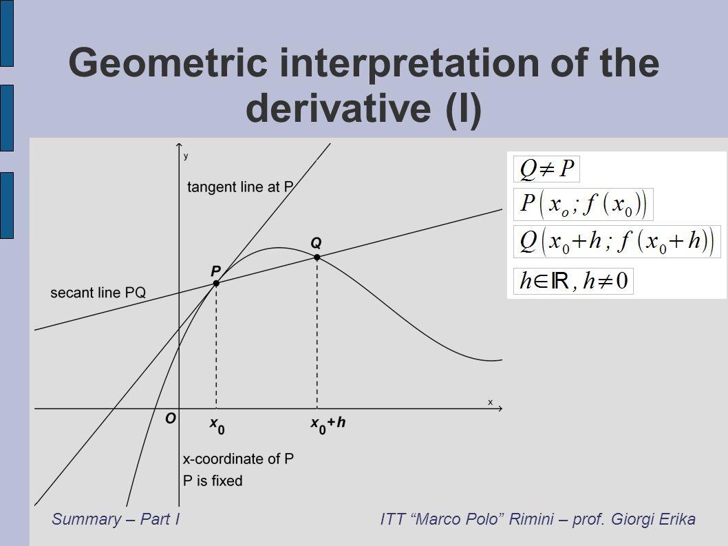 Geometric interpretation of the derivative (I) Summary – Part IITT Marco Polo Rimini – prof. Giorgi Erika