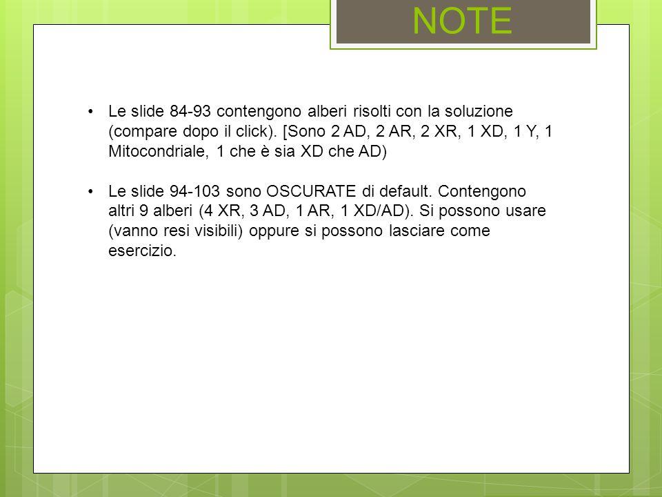 NOTE Le slide 84-93 contengono alberi risolti con la soluzione (compare dopo il click). [Sono 2 AD, 2 AR, 2 XR, 1 XD, 1 Y, 1 Mitocondriale, 1 che è si