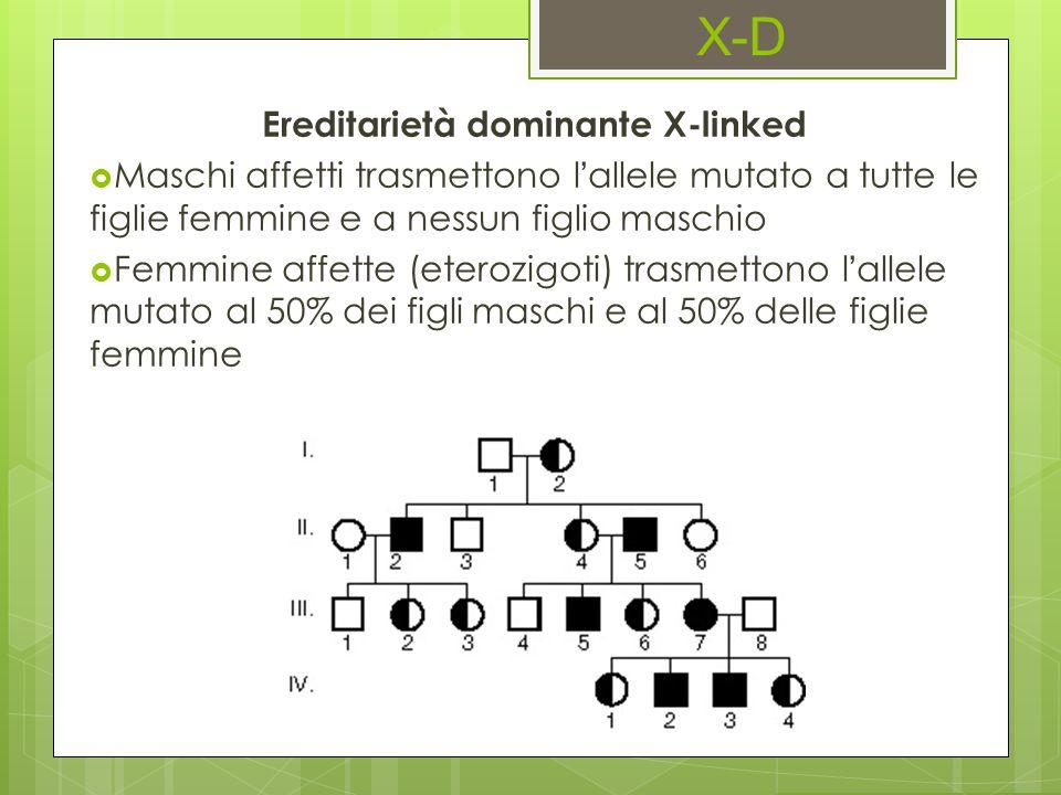 X-D Ereditarietà dominante X-linked Maschi affetti trasmettono lallele mutato a tutte le figlie femmine e a nessun figlio maschio Femmine affette (ete
