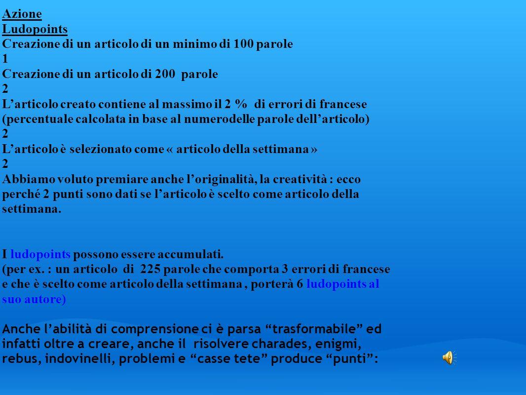 Azione Ludopoints Creazione di un articolo di un minimo di 100 parole 1 Creazione di un articolo di 200 parole 2 Larticolo creato contiene al massimo