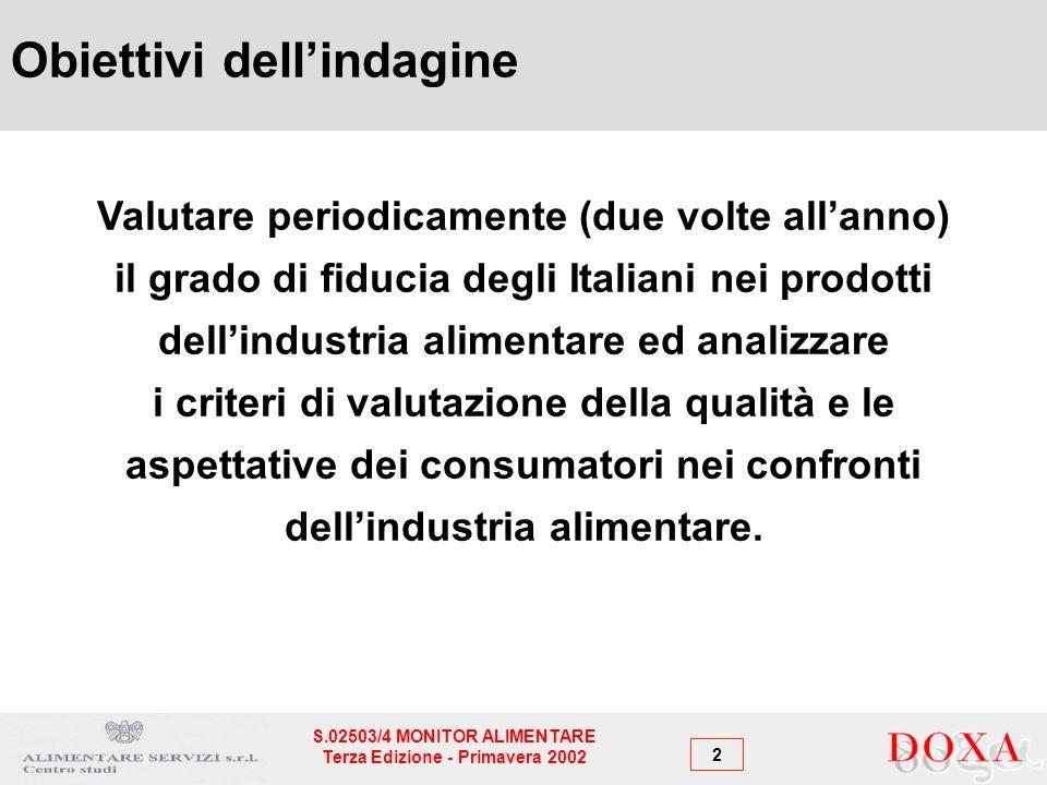 2 S.02503/4 MONITOR ALIMENTARE Terza Edizione - Primavera 2002 Valutare periodicamente (due volte allanno) il grado di fiducia degli Italiani nei prodotti dellindustria alimentare ed analizzare i criteri di valutazione della qualità e le aspettative dei consumatori nei confronti dellindustria alimentare.