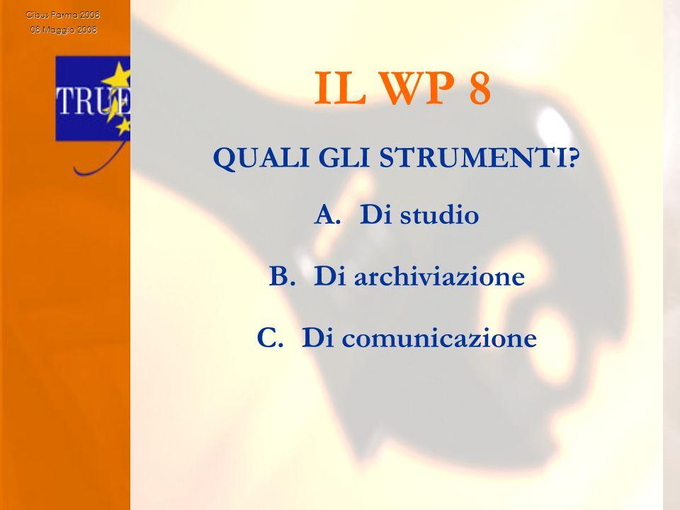 11 IL WP 8 QUALI GLI STRUMENTI? A.Di studio B.Di archiviazione C.Di comunicazione Cibus Parma 2008 08 Maggio 2008 08 Maggio 2008