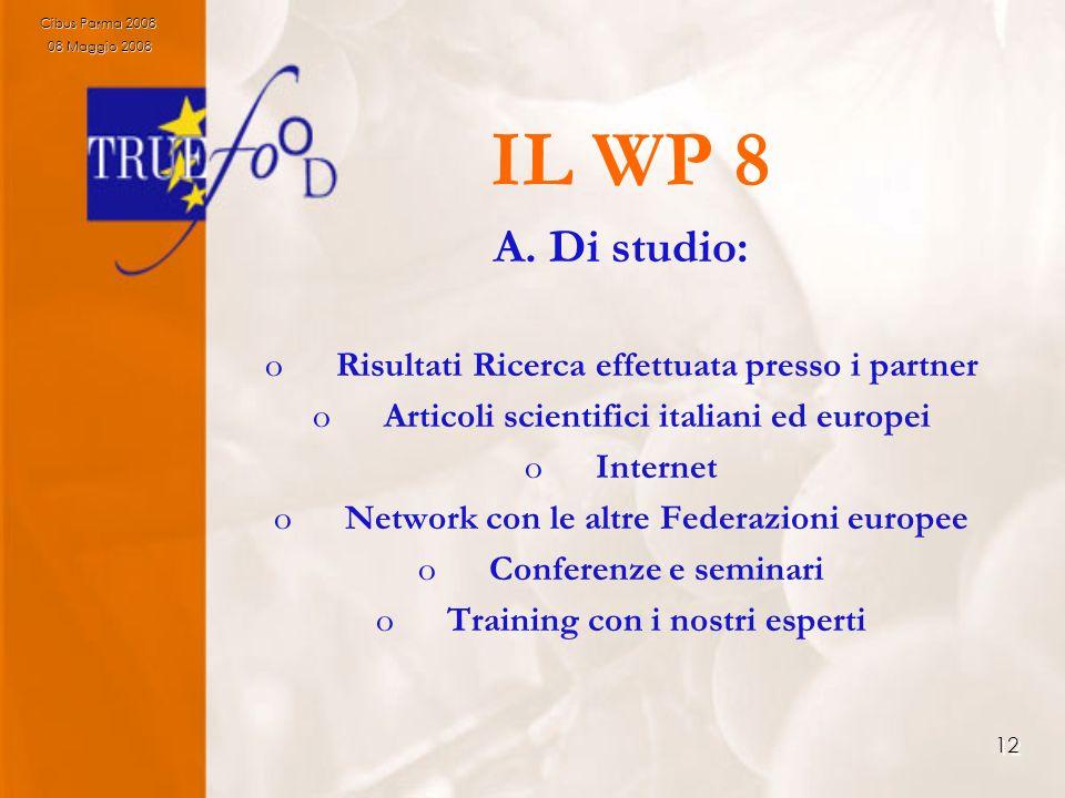 12 IL WP 8 A. Di studio: oRisultati Ricerca effettuata presso i partner oArticoli scientifici italiani ed europei oInternet oNetwork con le altre Fede