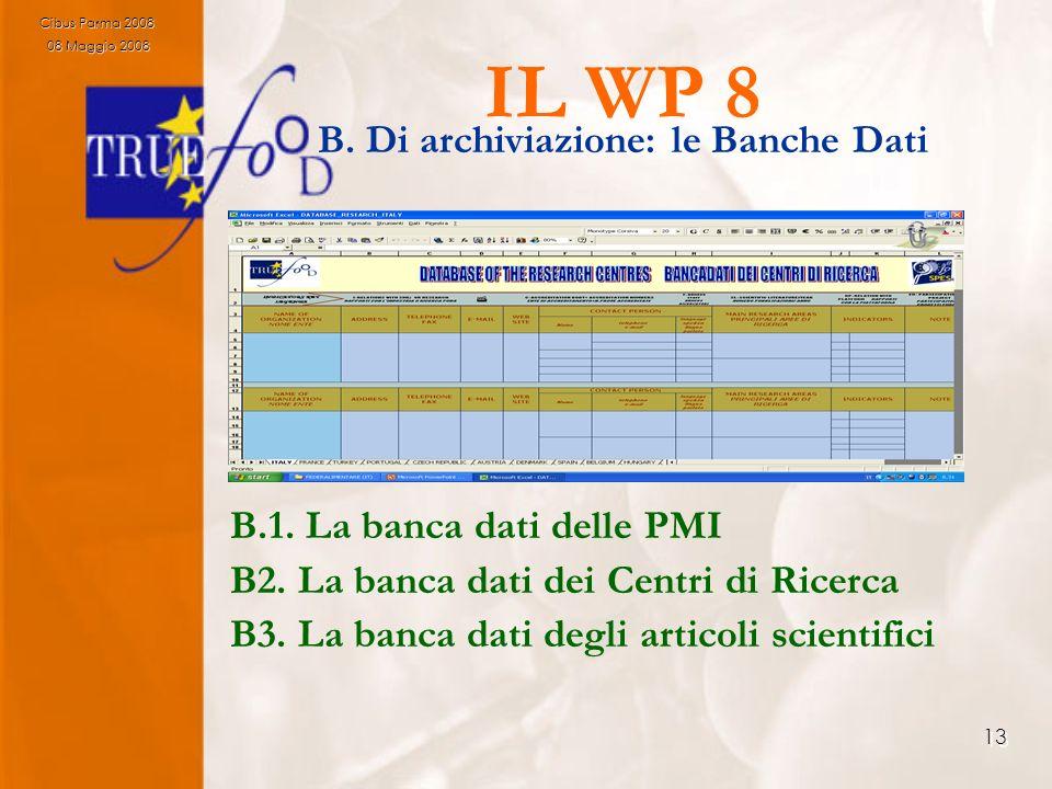 13 IL WP 8 B. Di archiviazione: le Banche Dati B.1. La banca dati delle PMI B2. La banca dati dei Centri di Ricerca B3. La banca dati degli articoli s