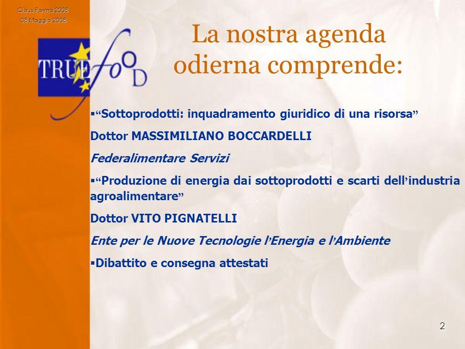 2 La nostra agenda odierna comprende: Sottoprodotti: inquadramento giuridico di una risorsa Dottor MASSIMILIANO BOCCARDELLI Federalimentare Servizi Pr