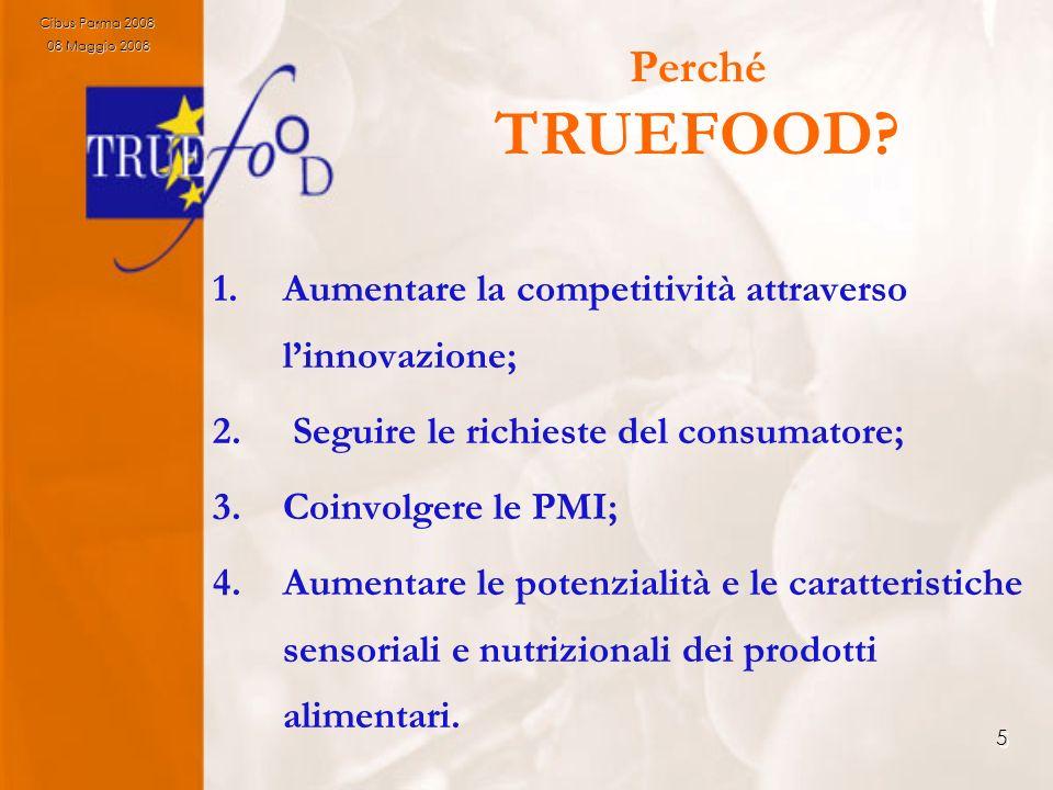 5 Perché TRUEFOOD? 1.Aumentare la competitività attraverso linnovazione; 2. Seguire le richieste del consumatore; 3.Coinvolgere le PMI; 4.Aumentare le