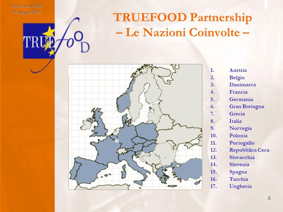 6 TRUEFOOD Partnership – Le Nazioni Coinvolte – 1.Austria 2.Belgio 3.Danimarca 4.Francia 5.Germania 6.Gran Bretagna 7.Grecia 8.Italia 9.Norvegia 10.Po