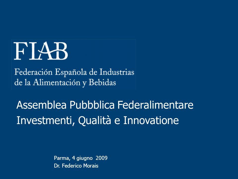 Parma, 4 giugno 2009 Dr. Federico Morais Assemblea Pubbblica Federalimentare Investmenti, Qualità e Innovatione
