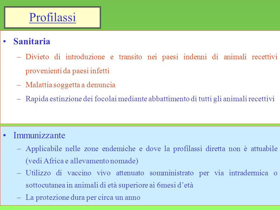 13 Sanitaria –Divieto di introduzione e transito nei paesi indenni di animali recettivi provenienti da paesi infetti –Malattia soggetta a denuncia –Ra
