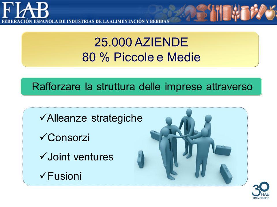 25.000 AZIENDE 80 % Piccole e Medie Rafforzare la struttura delle imprese attraverso Alleanze strategiche Consorzi Joint ventures Fusioni