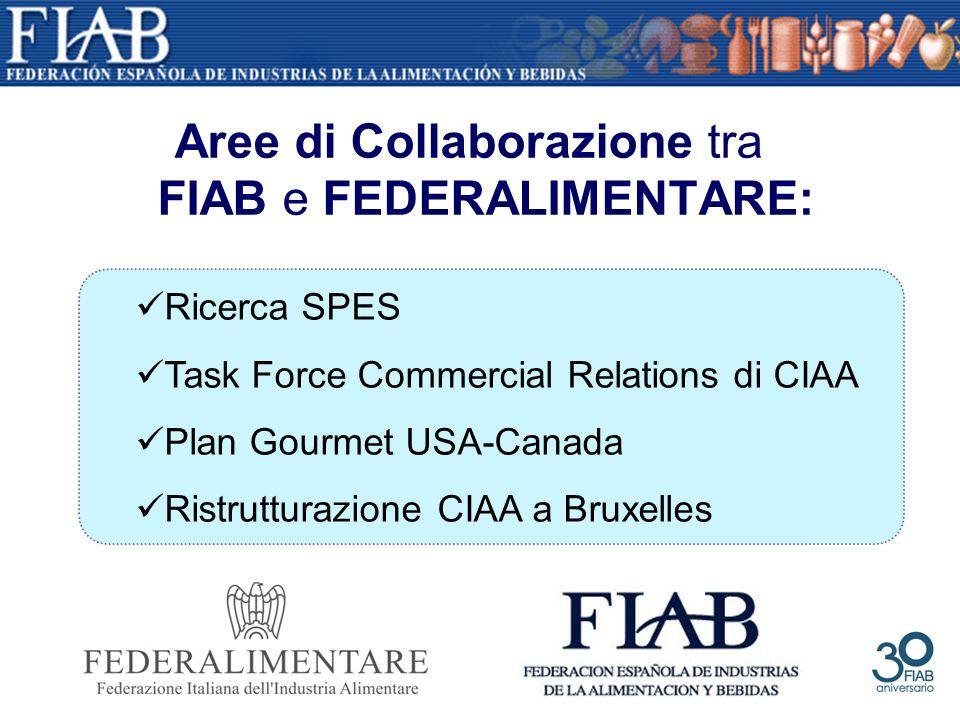 Aree di Collaborazione tra FIAB e FEDERALIMENTARE: Ricerca SPES Task Force Commercial Relations di CIAA Plan Gourmet USA-Canada Ristrutturazione CIAA