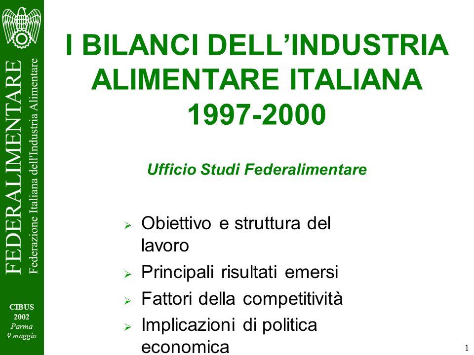 1 CIBUS 2002 Parma 9 maggio I BILANCI DELLINDUSTRIA ALIMENTARE ITALIANA 1997-2000 Ufficio Studi Federalimentare Obiettivo e struttura del lavoro Principali risultati emersi Fattori della competitività Implicazioni di politica economica