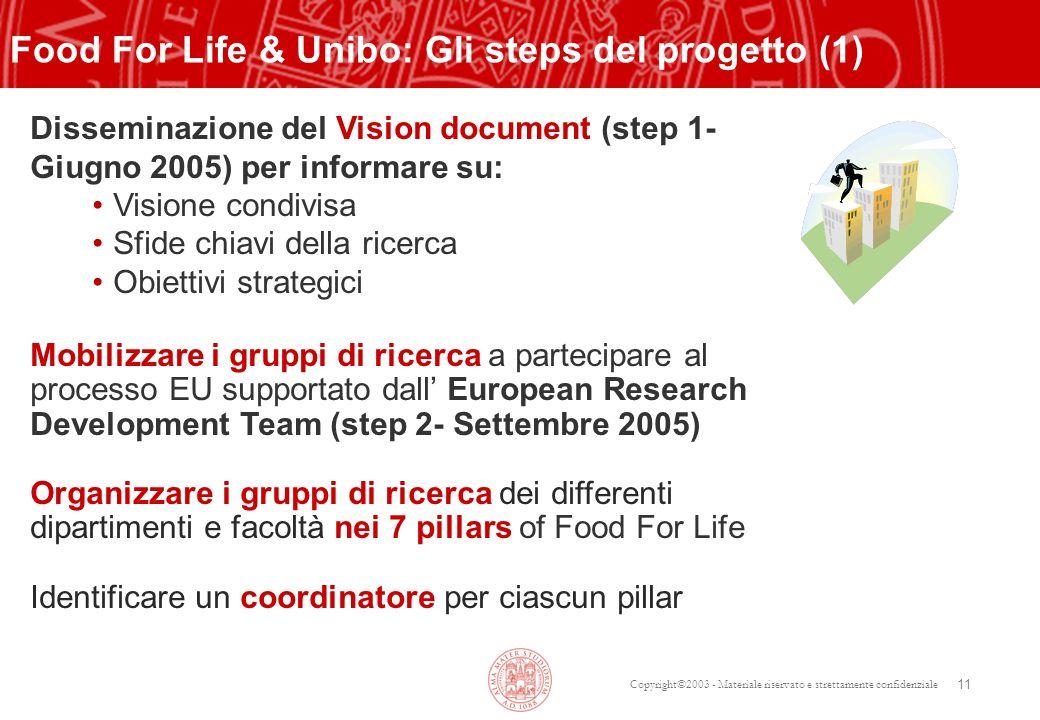 Copyright©2003 - Materiale riservato e strettamente confidenziale 11 Disseminazione del Vision document (step 1- Giugno 2005) per informare su: Vision
