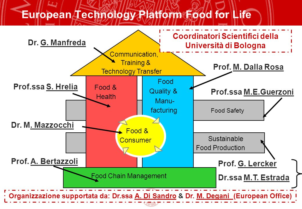 Copyright©2003 - Materiale riservato e strettamente confidenziale 14 Prof. G. Lercker Dr.ssa M.T. Estrada European Technology Platform Food for Life -