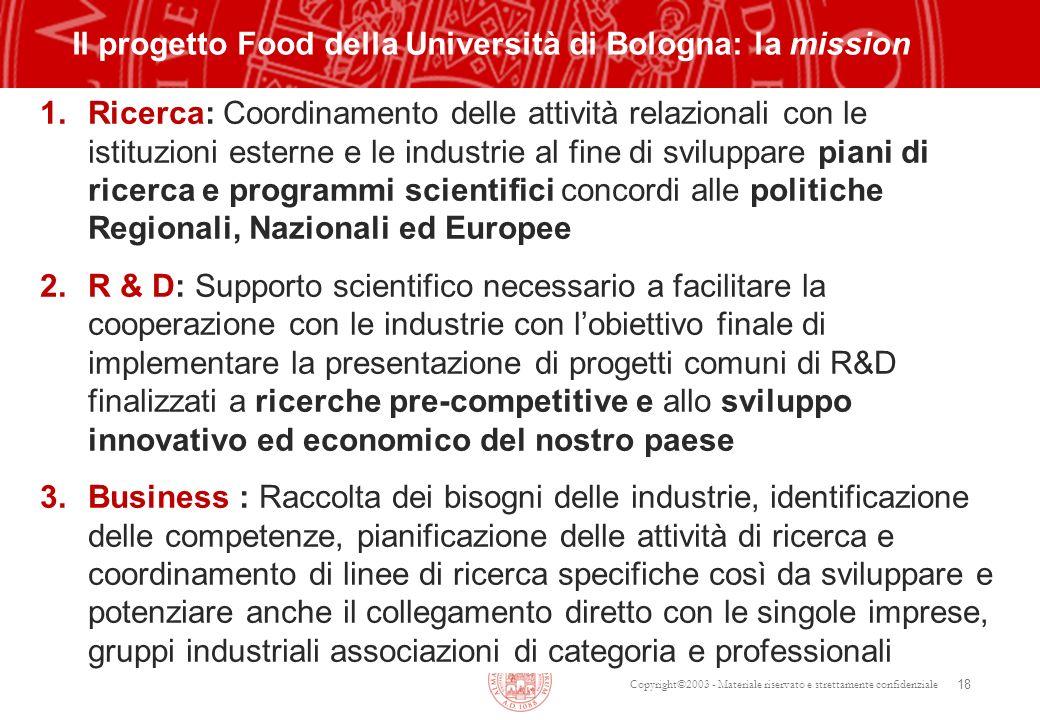 Copyright©2003 - Materiale riservato e strettamente confidenziale 18 Il progetto Food della Università di Bologna: la mission 1. Ricerca: Coordinament